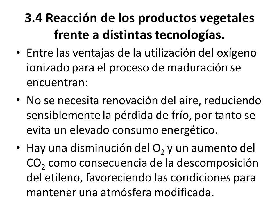 3.4 Reacción de los productos vegetales frente a distintas tecnologías. Entre las ventajas de la utilización del oxígeno ionizado para el proceso de m