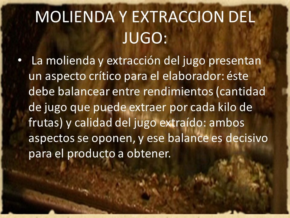 MOLIENDA Y EXTRACCION DEL JUGO: La molienda y extracción del jugo presentan un aspecto crítico para el elaborador: éste debe balancear entre rendimien