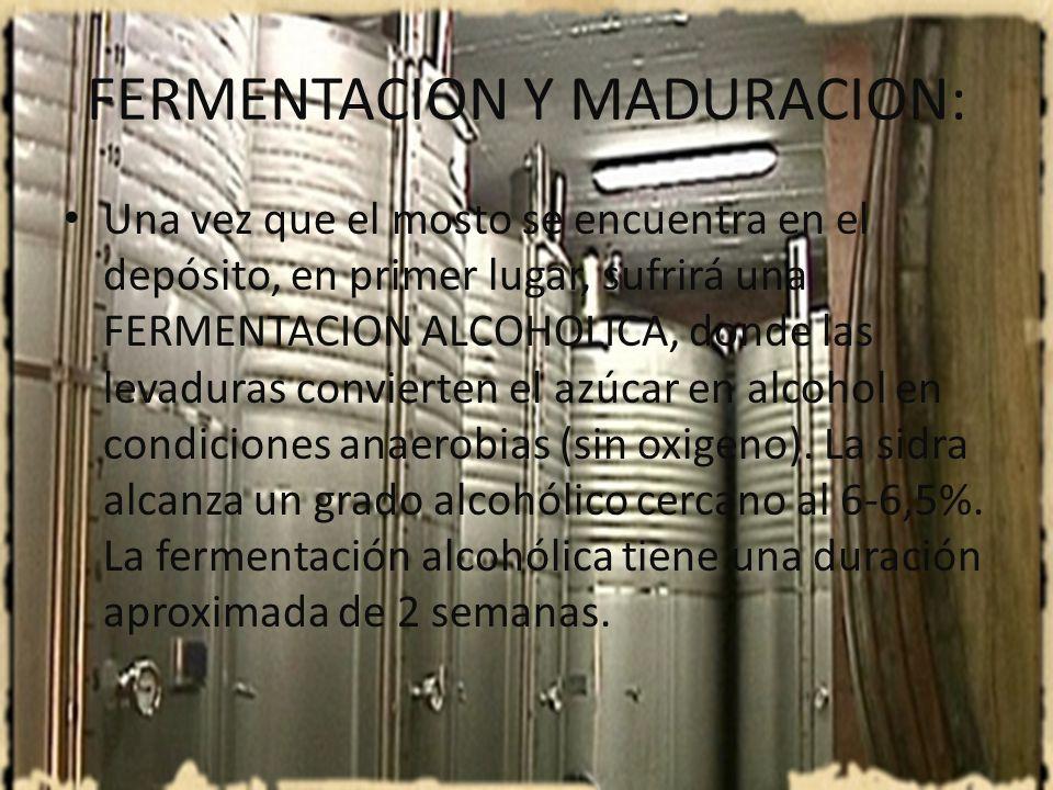 FERMENTACION Y MADURACION La maduración es el conjunto de reacciones que se producen generalmente al terminar la fermentación alcohólica, que incluyen la llamada fermentación maloláctica, con la mejora del sabor por la transformación del ácido Málico(principal ácido de las Manzanas)en ácido Láctico, más suave y armonioso.