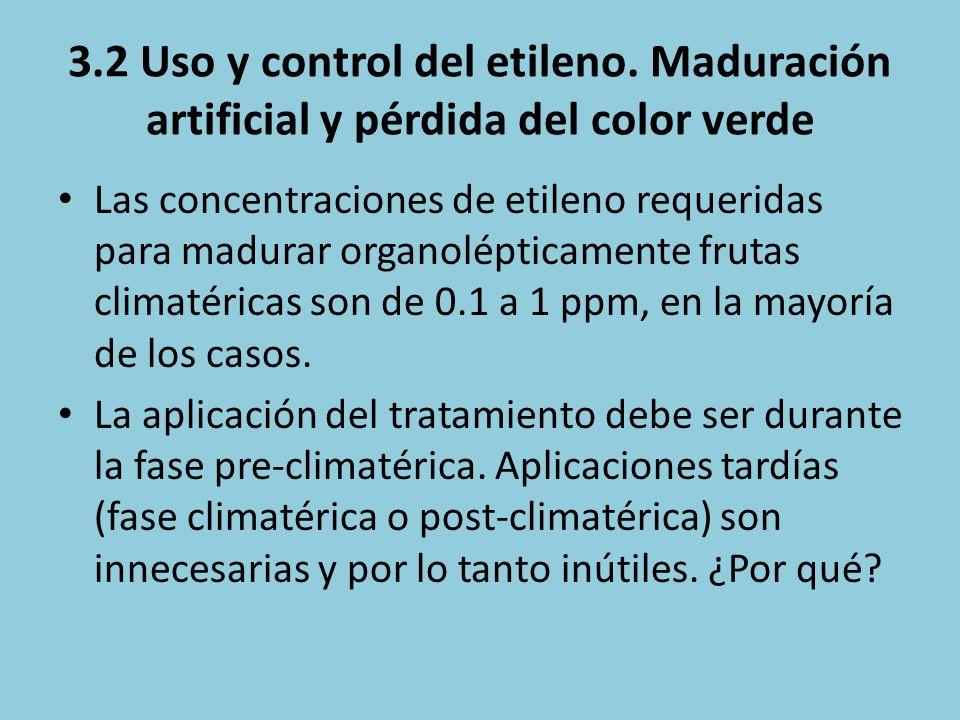3.2 Uso y control del etileno. Maduración artificial y pérdida del color verde Las concentraciones de etileno requeridas para madurar organolépticamen