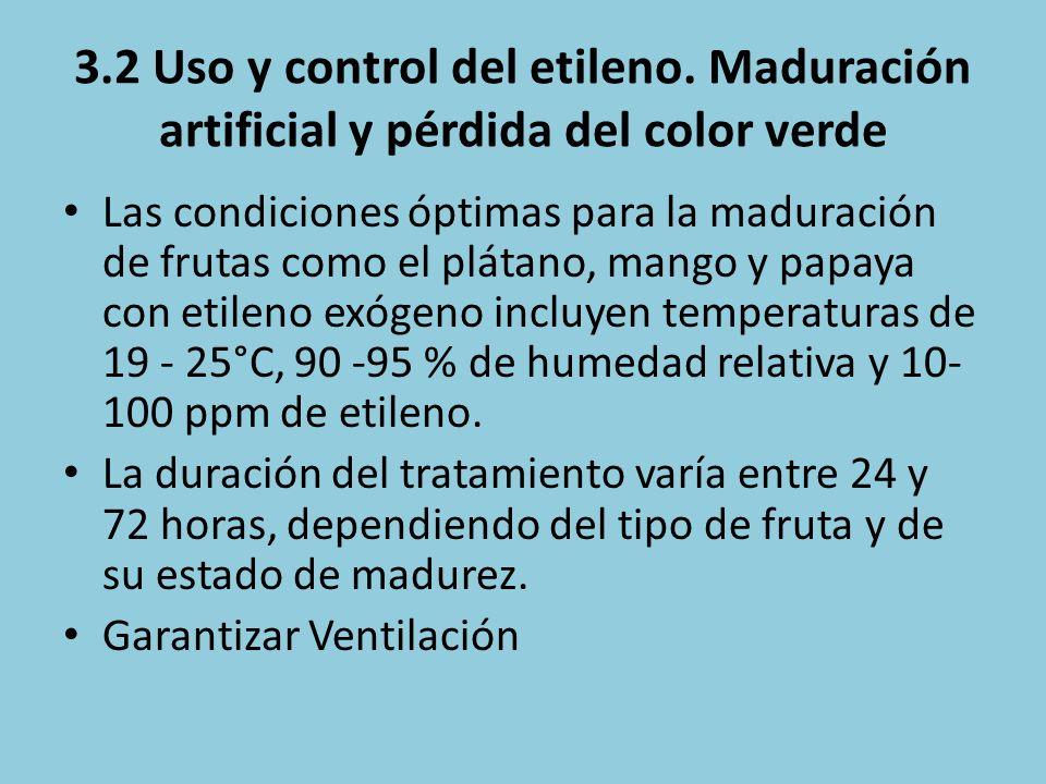 3.2 Uso y control del etileno. Maduración artificial y pérdida del color verde Las condiciones óptimas para la maduración de frutas como el plátano, m