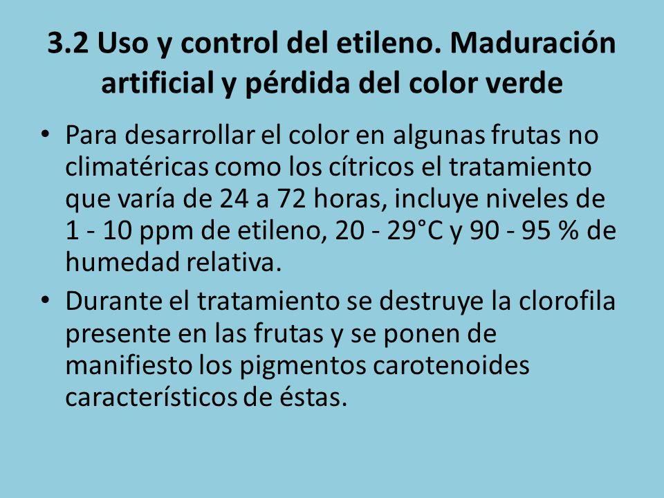 3.2 Uso y control del etileno. Maduración artificial y pérdida del color verde Para desarrollar el color en algunas frutas no climatéricas como los cí