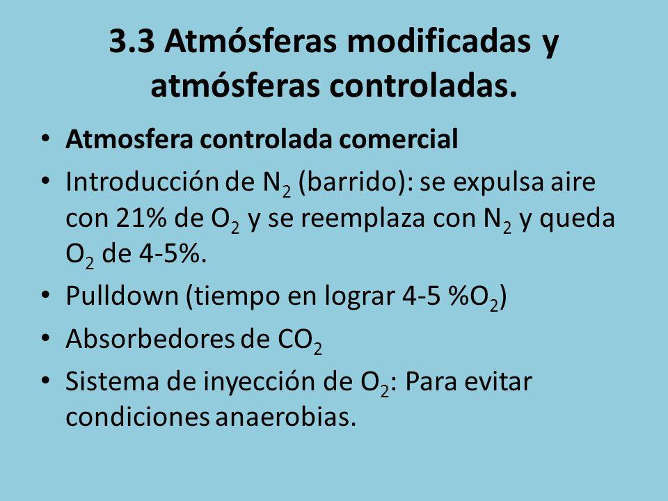 3.3 Atmósferas modificadas y atmósferas controladas. Atmosfera controlada comercial Introducción de N 2 (barrido): se expulsa aire con 21% de O 2 y se