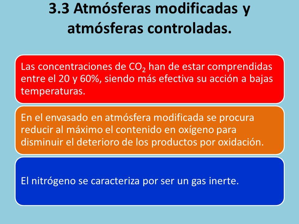 3.3 Atmósferas modificadas y atmósferas controladas. Las concentraciones de CO2 han de estar comprendidas entre el 20 y 60%, siendo más efectiva su ac