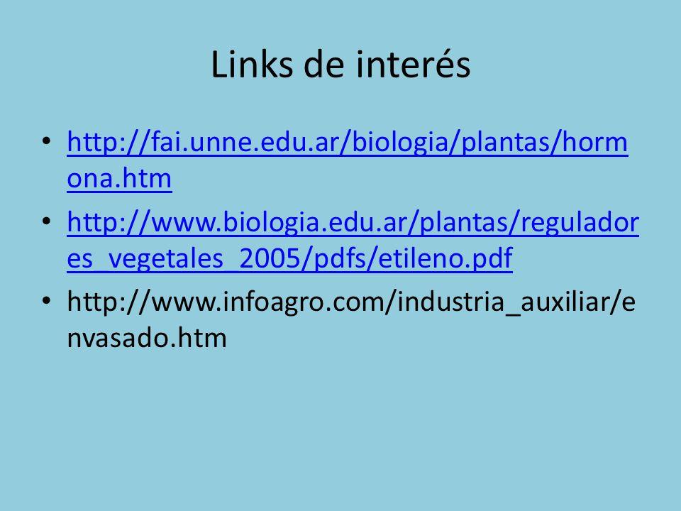 Links de interés http://fai.unne.edu.ar/biologia/plantas/horm ona.htm http://fai.unne.edu.ar/biologia/plantas/horm ona.htm http://www.biologia.edu.ar/