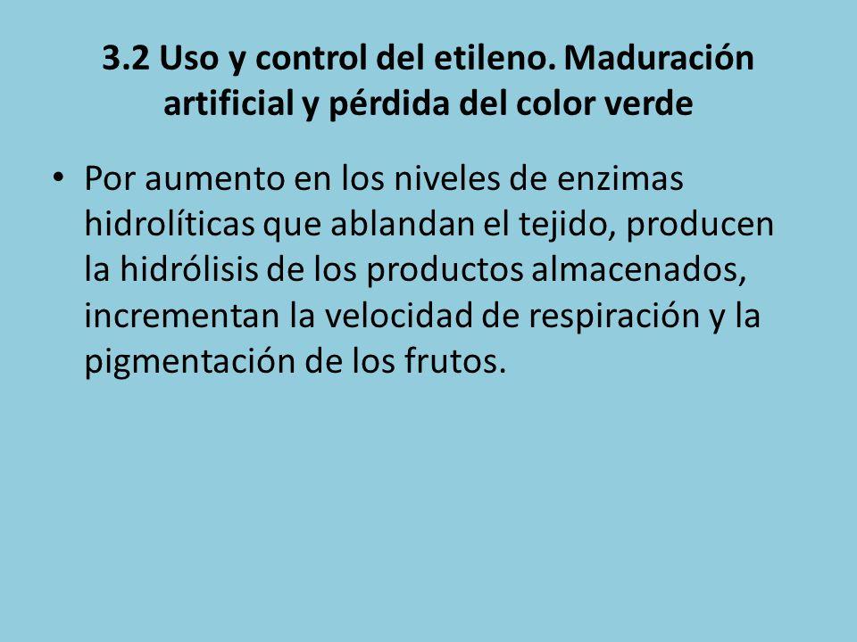 3.2 Uso y control del etileno. Maduración artificial y pérdida del color verde Por aumento en los niveles de enzimas hidrolíticas que ablandan el teji