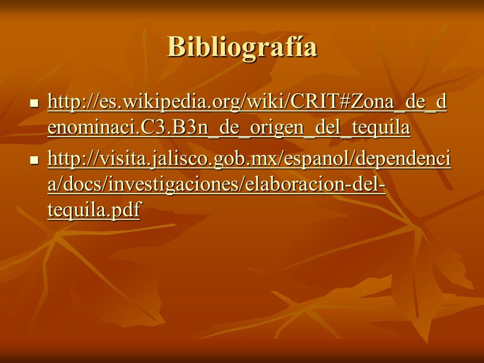 Bibliografía http://es.wikipedia.org/wiki/CRIT#Zona_de_d enominaci.C3.B3n_de_origen_del_tequila http://es.wikipedia.org/wiki/CRIT#Zona_de_d enominaci.