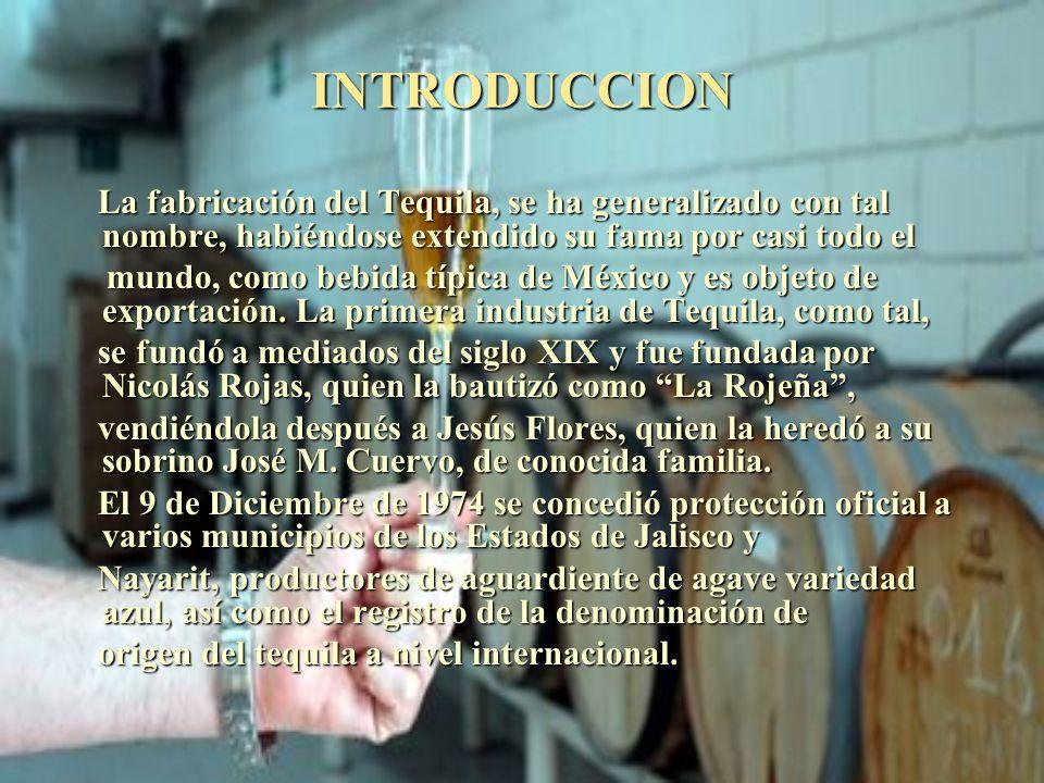 INTRODUCCION La fabricación del Tequila, se ha generalizado con tal nombre, habiéndose extendido su fama por casi todo el La fabricación del Tequila,