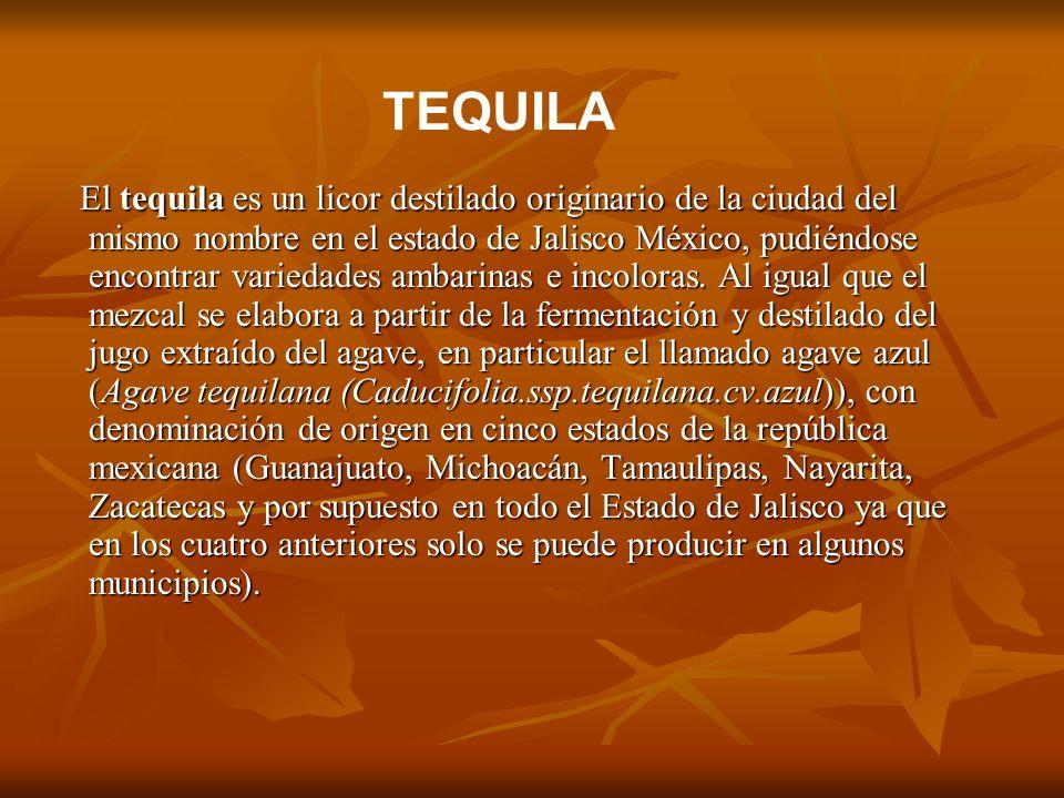 El tequila es un licor destilado originario de la ciudad del mismo nombre en el estado de Jalisco México, pudiéndose encontrar variedades ambarinas e