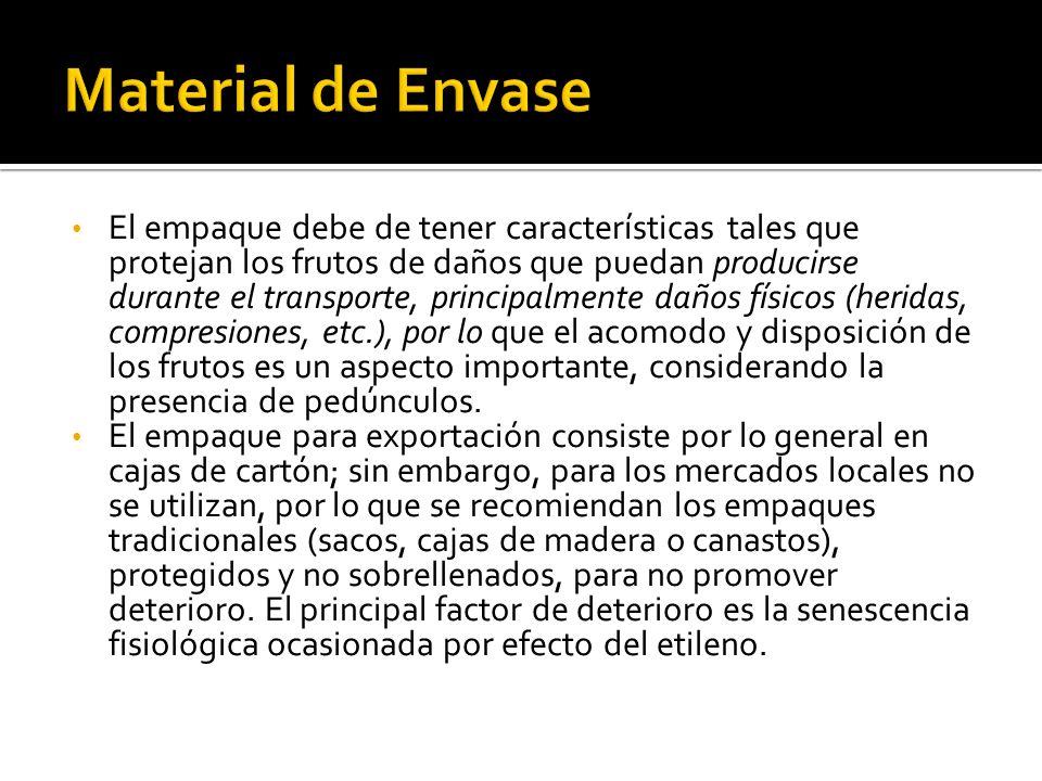 El empaque debe de tener características tales que protejan los frutos de daños que puedan producirse durante el transporte, principalmente daños físi