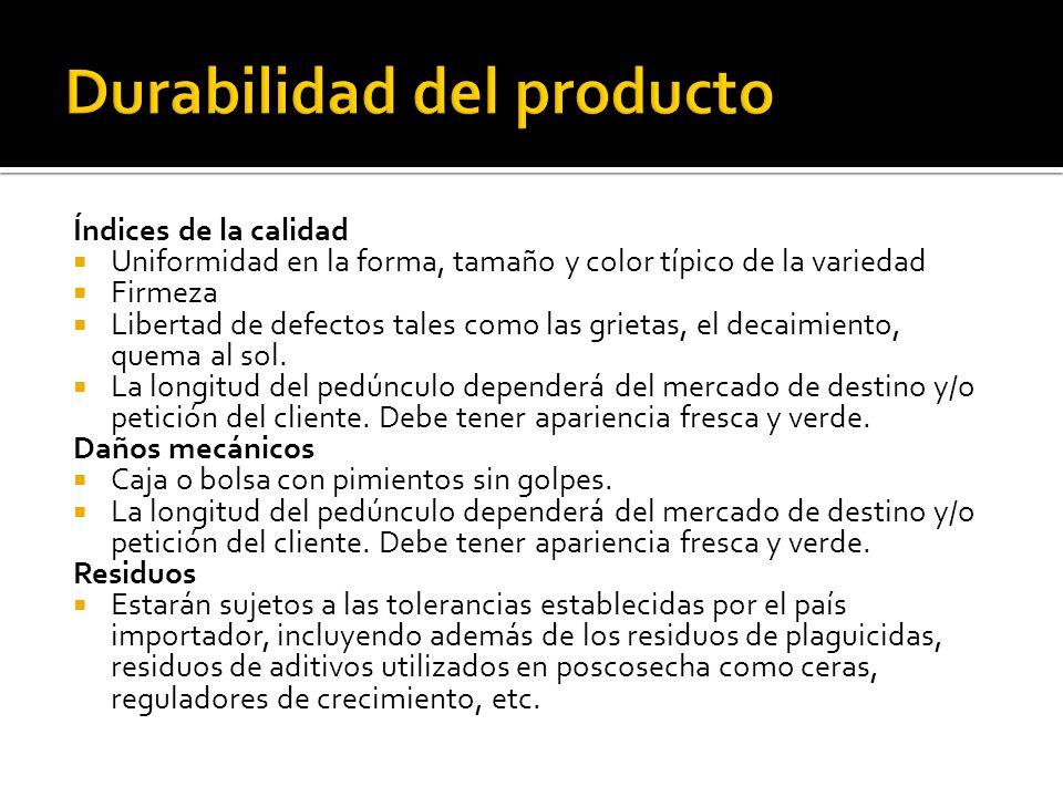 Índices de la calidad Uniformidad en la forma, tamaño y color típico de la variedad Firmeza Libertad de defectos tales como las grietas, el decaimient