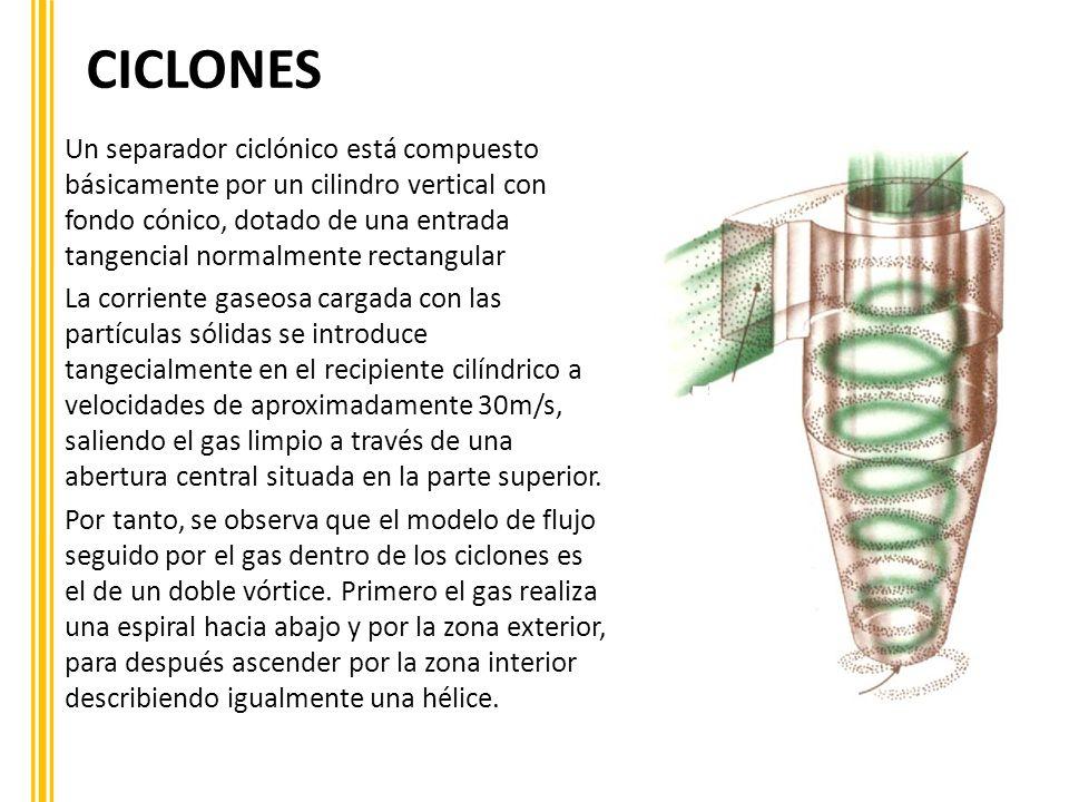 CICLONES Un separador ciclónico está compuesto básicamente por un cilindro vertical con fondo cónico, dotado de una entrada tangencial normalmente rec