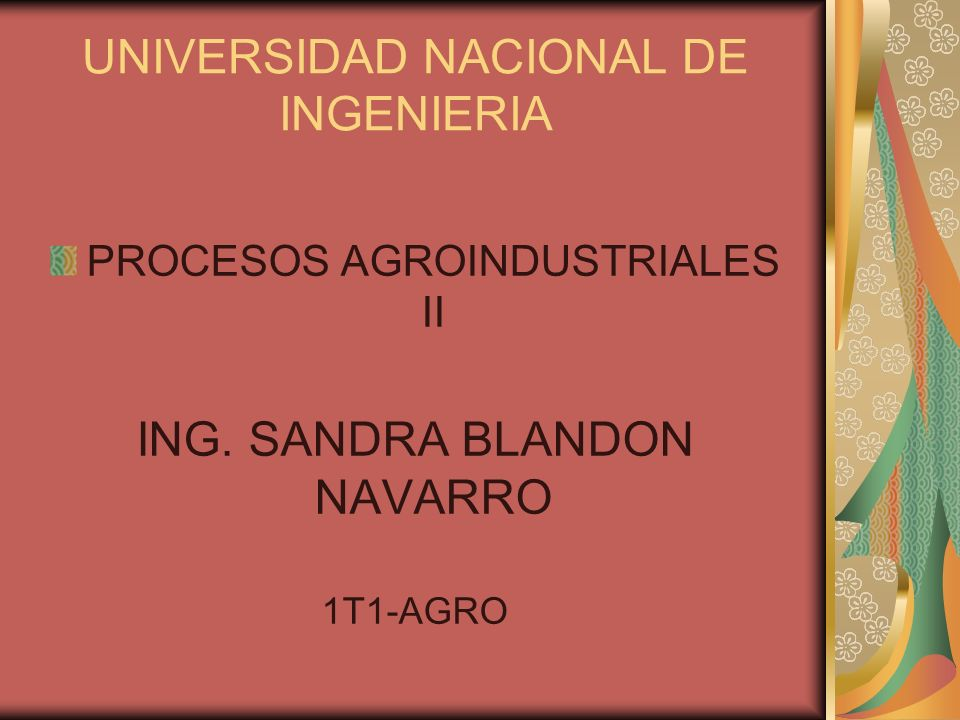 UNIVERSIDAD NACIONAL DE INGENIERIA PROCESOS AGROINDUSTRIALES II ING. SANDRA BLANDON NAVARRO 1T1-AGRO