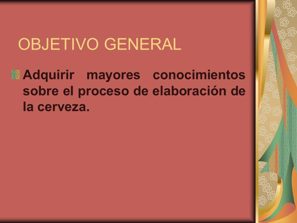 OBJETIVOS ESPECIFICOS Dar a conocer el proceso de elaboración de la cerveza.