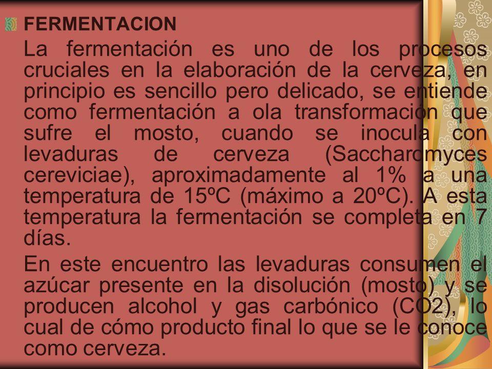 FERMENTACION La fermentación es uno de los procesos cruciales en la elaboración de la cerveza, en principio es sencillo pero delicado, se entiende com