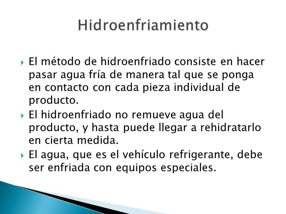 El método de hidroenfriado consiste en hacer pasar agua fría de manera tal que se ponga en contacto con cada pieza individual de producto. El hidroenf