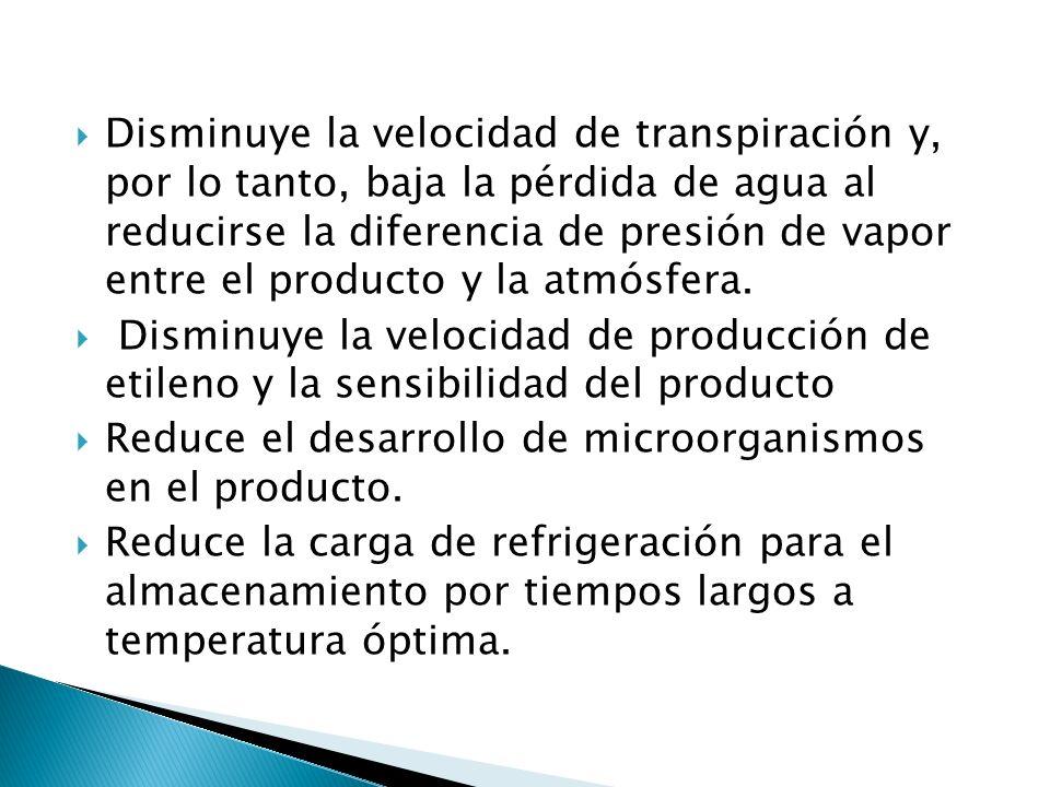Disminuye la velocidad de transpiración y, por lo tanto, baja la pérdida de agua al reducirse la diferencia de presión de vapor entre el producto y la