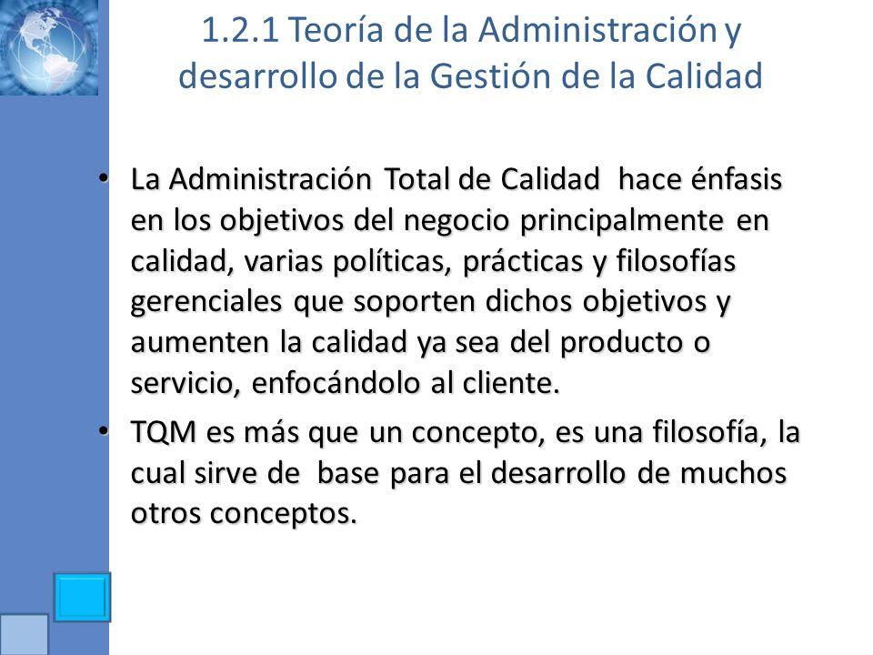 1.2.1 Teoría de la Administración y desarrollo de la Gestión de la Calidad La Administración Total de Calidad hace énfasis en los objetivos del negoci