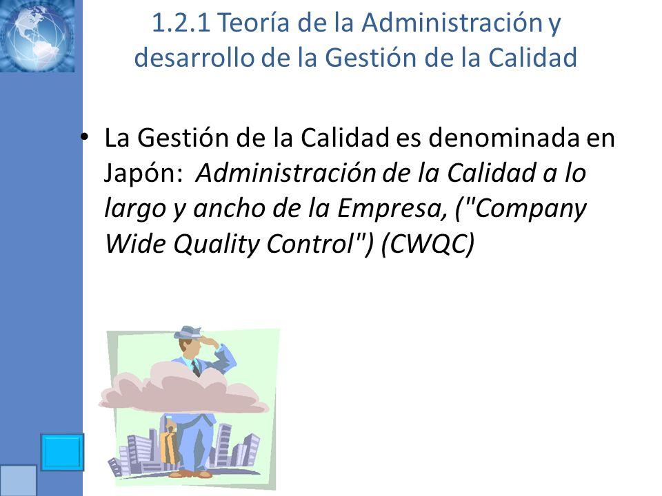 1.2.1 Teoría de la Administración y desarrollo de la Gestión de la Calidad La Gestión de la Calidad es denominada en Japón: Administración de la Calid