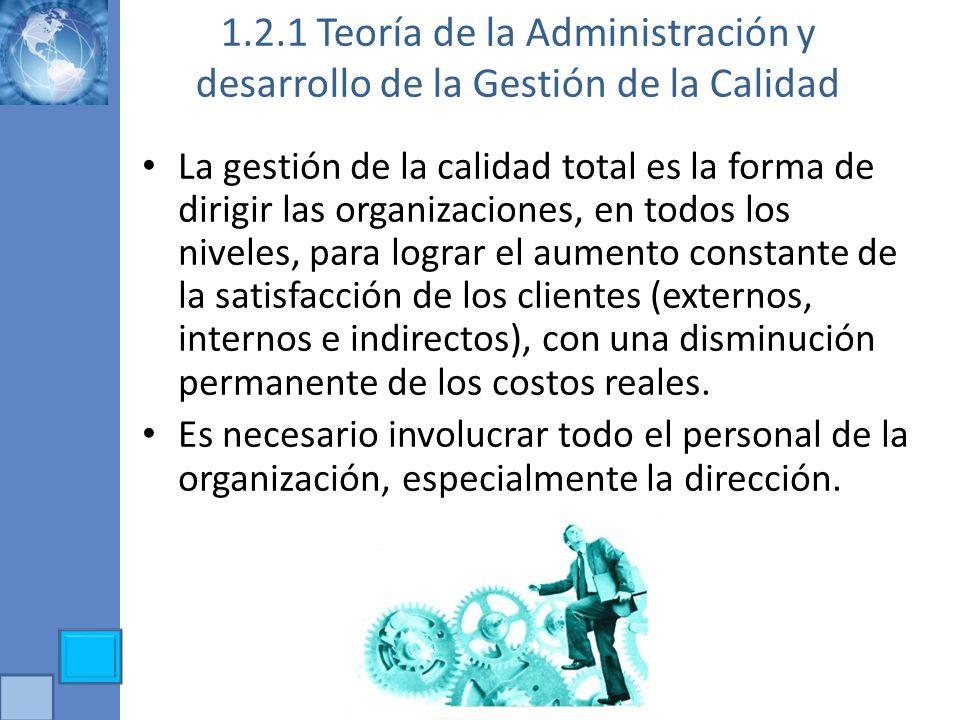 1.2.1 Teoría de la Administración y desarrollo de la Gestión de la Calidad La gestión de la calidad total es la forma de dirigir las organizaciones, e
