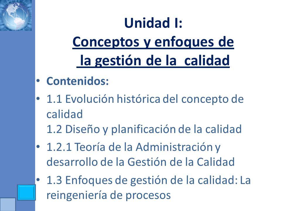 Unidad I: Conceptos y enfoques de la gestión de la calidad Contenidos: 1.1 Evolución histórica del concepto de calidad 1.2 Diseño y planificación de l