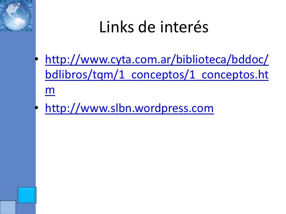 Links de interés http://www.cyta.com.ar/biblioteca/bddoc/ bdlibros/tqm/1_conceptos/1_conceptos.ht m http://www.cyta.com.ar/biblioteca/bddoc/ bdlibros/