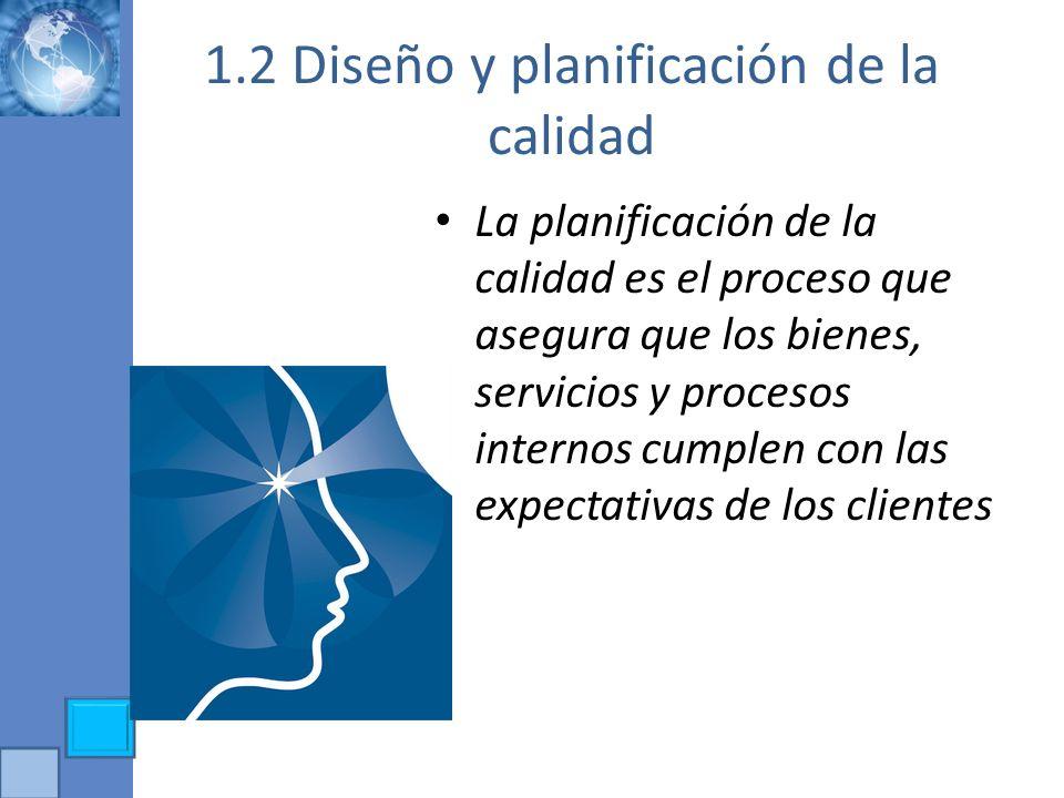 1.2 Diseño y planificación de la calidad La planificación de la calidad es el proceso que asegura que los bienes, servicios y procesos internos cumple