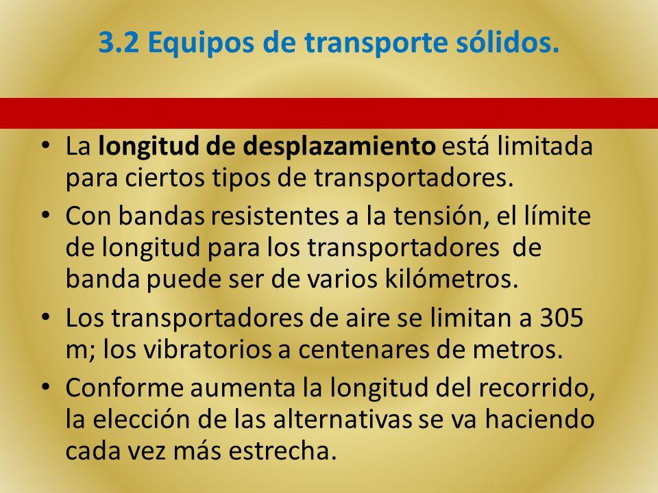 3.2 Equipos de transporte sólidos. La longitud de desplazamiento está limitada para ciertos tipos de transportadores. Con bandas resistentes a la tens