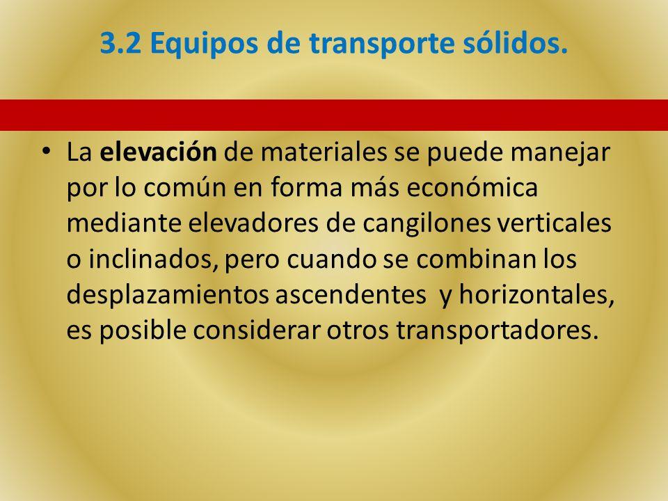 3.2 Equipos de transporte sólidos. La elevación de materiales se puede manejar por lo común en forma más económica mediante elevadores de cangilones v