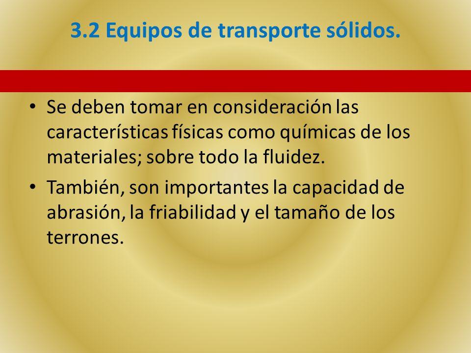 3.2 Equipos de transporte sólidos. Se deben tomar en consideración las características físicas como químicas de los materiales; sobre todo la fluidez.