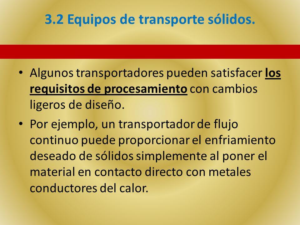 3.2 Equipos de transporte sólidos. Algunos transportadores pueden satisfacer los requisitos de procesamiento con cambios ligeros de diseño. Por ejempl
