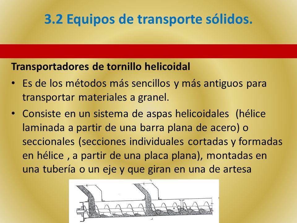 3.2 Equipos de transporte sólidos. Transportadores de tornillo helicoidal Es de los métodos más sencillos y más antiguos para transportar materiales a
