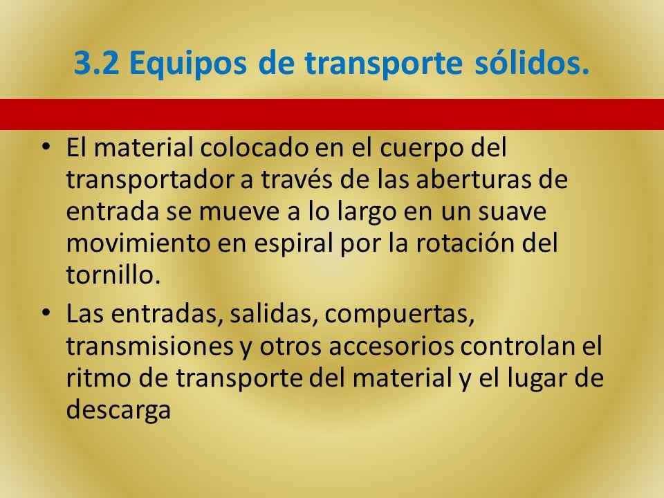 3.2 Equipos de transporte sólidos. El material colocado en el cuerpo del transportador a través de las aberturas de entrada se mueve a lo largo en un