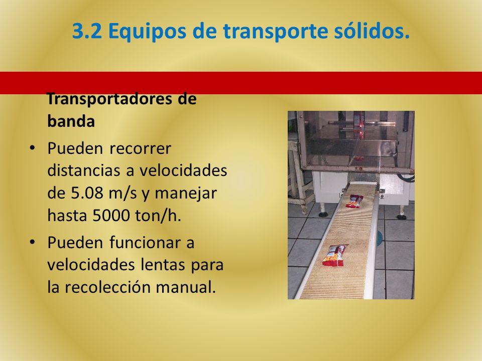 3.2 Equipos de transporte sólidos. Transportadores de banda Pueden recorrer distancias a velocidades de 5.08 m/s y manejar hasta 5000 ton/h. Pueden fu