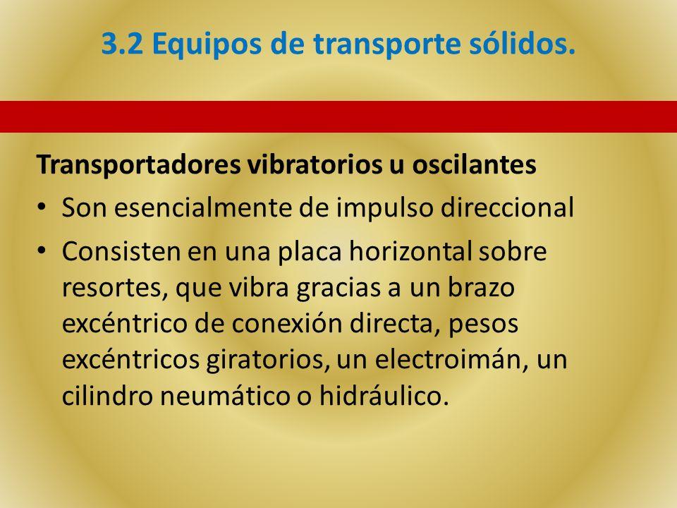 3.2 Equipos de transporte sólidos. Transportadores vibratorios u oscilantes Son esencialmente de impulso direccional Consisten en una placa horizontal