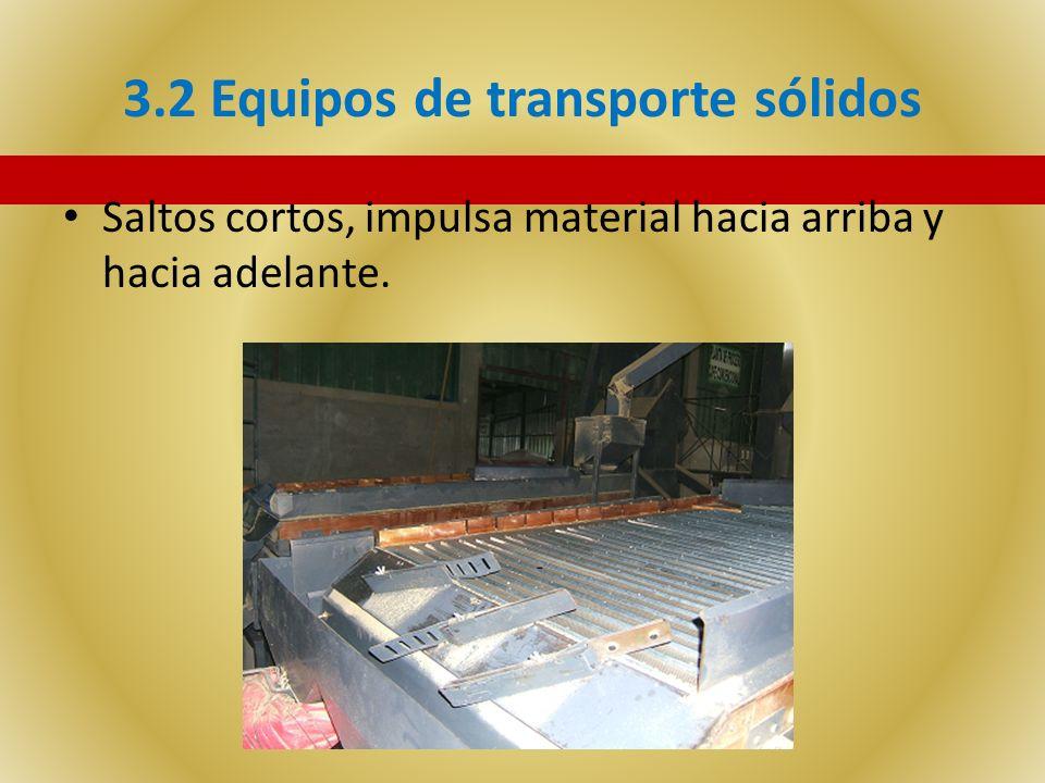 3.2 Equipos de transporte sólidos Saltos cortos, impulsa material hacia arriba y hacia adelante.