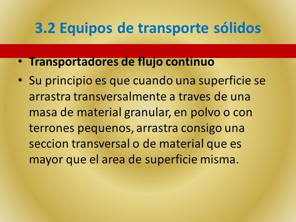 3.2 Equipos de transporte sólidos Transportadores de flujo continuo Su principio es que cuando una superficie se arrastra transversalmente a traves de