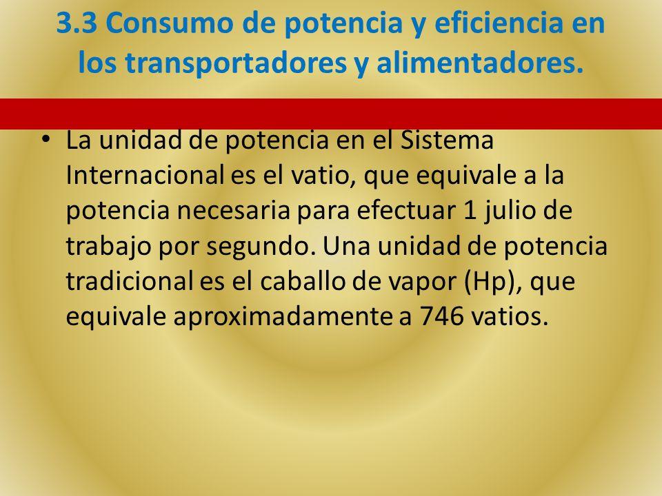 3.3 Consumo de potencia y eficiencia en los transportadores y alimentadores. La unidad de potencia en el Sistema Internacional es el vatio, que equiva