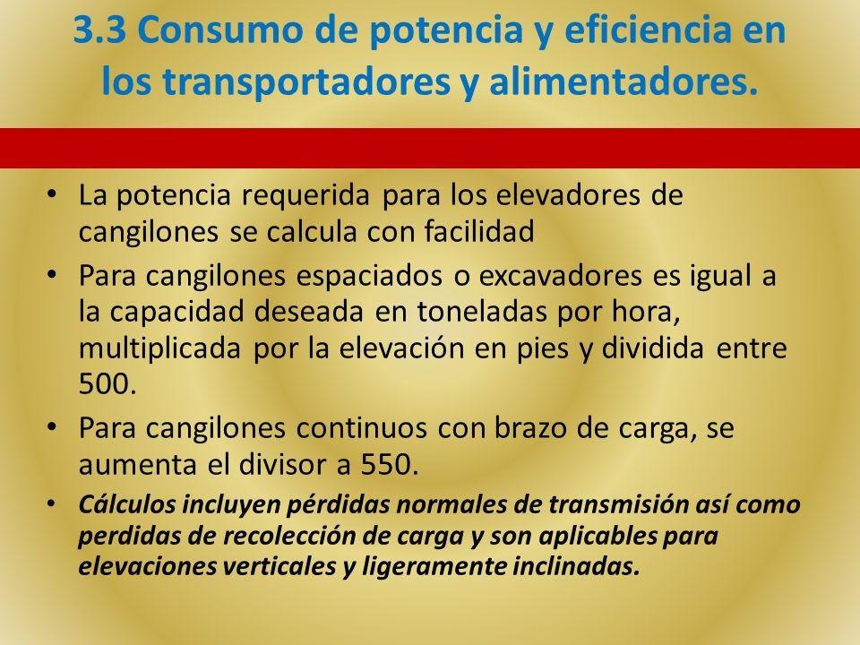 3.3 Consumo de potencia y eficiencia en los transportadores y alimentadores. La potencia requerida para los elevadores de cangilones se calcula con fa