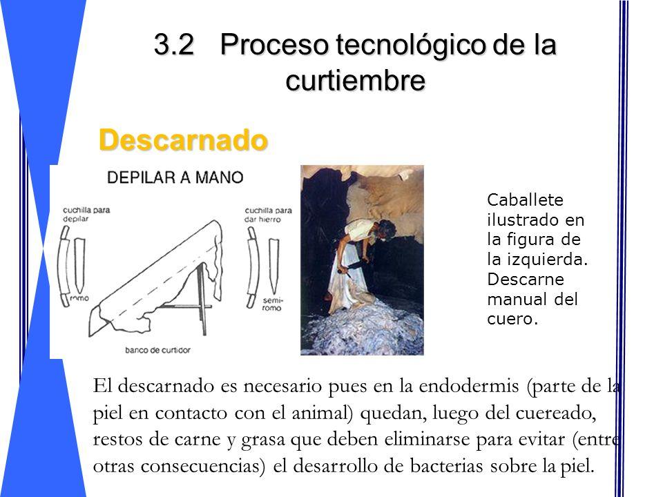 3.2Proceso tecnológico de la curtiembre Descarnado Descarnado Caballete ilustrado en la figura de la izquierda. Descarne manual del cuero. El descarna