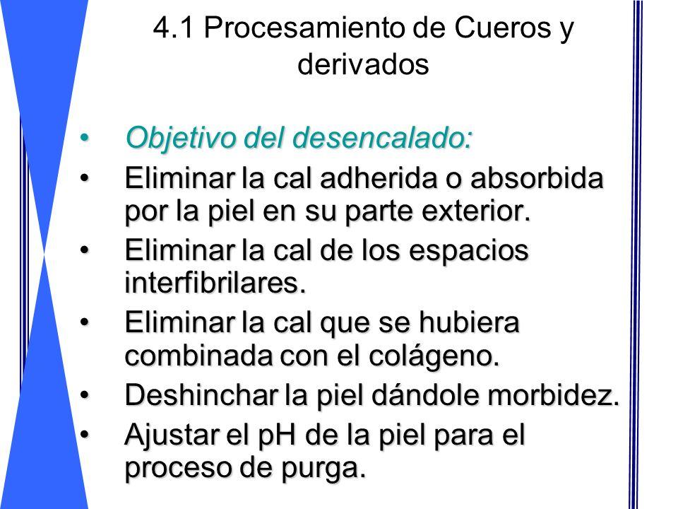 4.1 Procesamiento de Cueros y derivados Objetivo del desencalado:Objetivo del desencalado: Eliminar la cal adherida o absorbida por la piel en su part