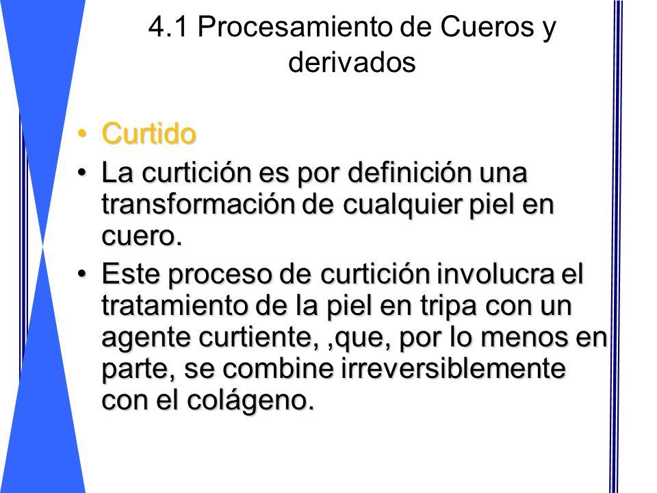 4.1 Procesamiento de Cueros y derivados CurtidoCurtido La curtición es por definición una transformación de cualquier piel en cuero.La curtición es po