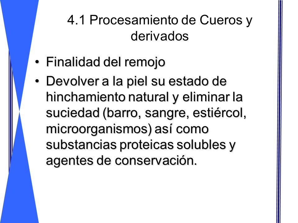 4.1 Procesamiento de Cueros y derivados Escurrido Dividido Neutralizado Recurtido Teñido Engrase Almacen
