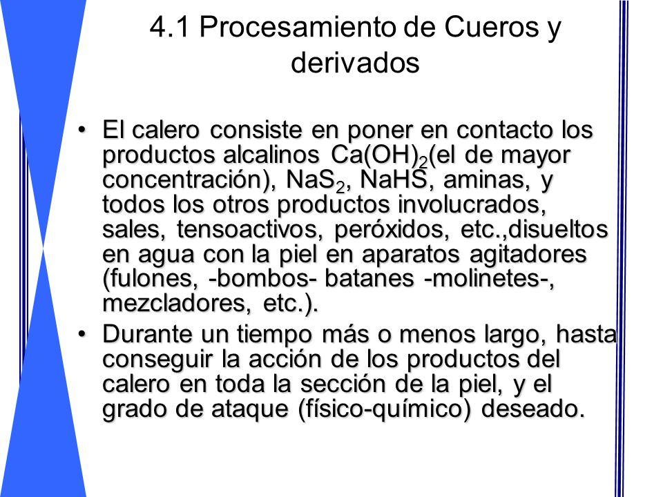 4.1 Procesamiento de Cueros y derivados El calero consiste en poner en contacto los productos alcalinos Ca(OH) 2 (el de mayor concentración), NaS 2, N