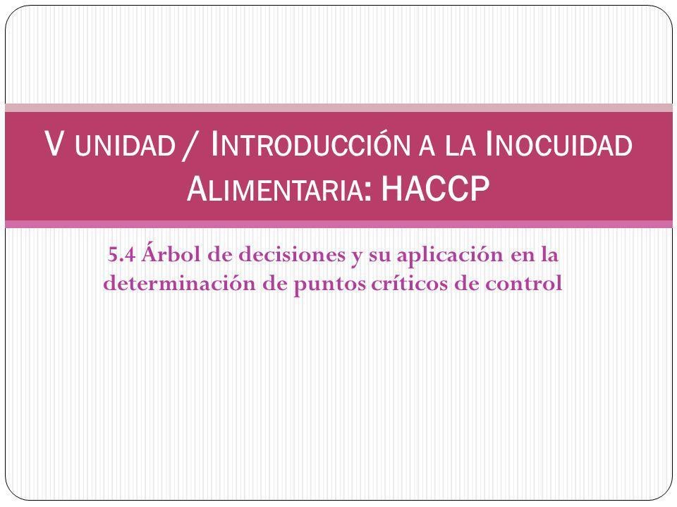 5.4 Árbol de decisiones y su aplicación en la determinación de puntos críticos de control V UNIDAD / I NTRODUCCIÓN A LA I NOCUIDAD A LIMENTARIA : HACCP