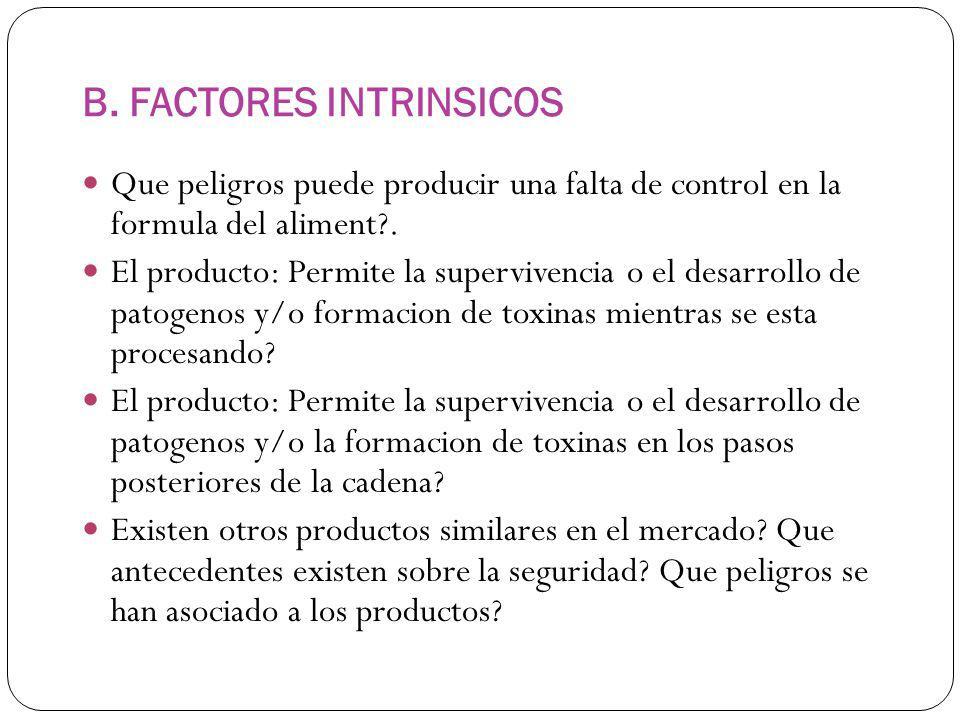 B. FACTORES INTRINSICOS Que peligros puede producir una falta de control en la formula del aliment?. El producto: Permite la supervivencia o el desarr