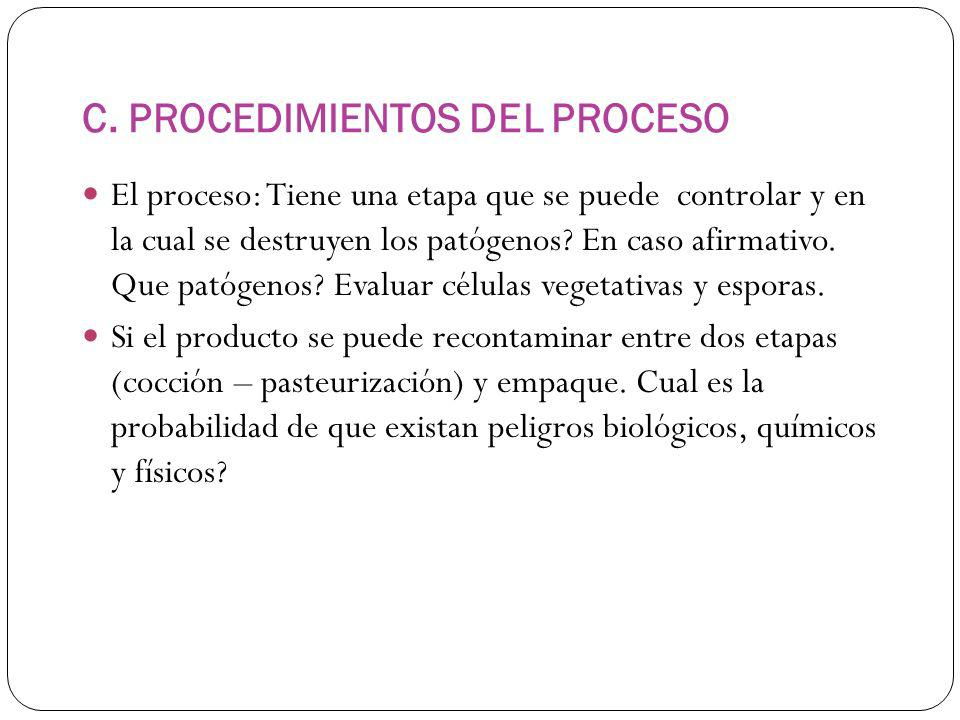 C. PROCEDIMIENTOS DEL PROCESO El proceso: Tiene una etapa que se puede controlar y en la cual se destruyen los patógenos? En caso afirmativo. Que pató