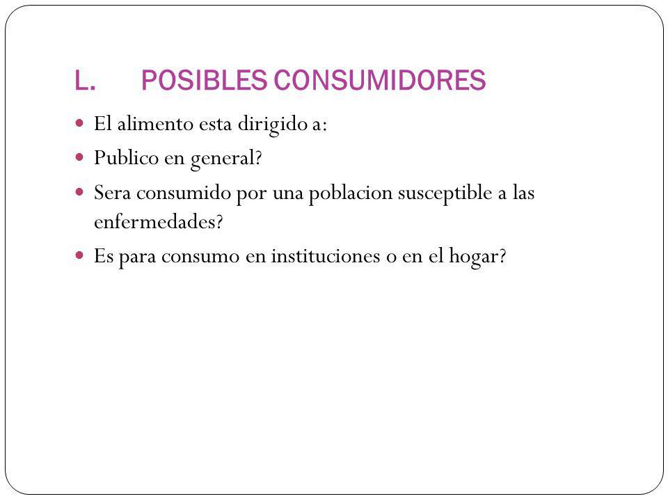 L.POSIBLES CONSUMIDORES El alimento esta dirigido a: Publico en general.
