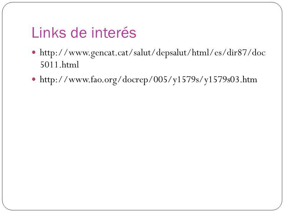 Links de interés http://www.gencat.cat/salut/depsalut/html/es/dir87/doc 5011.html http://www.fao.org/docrep/005/y1579s/y1579s03.htm