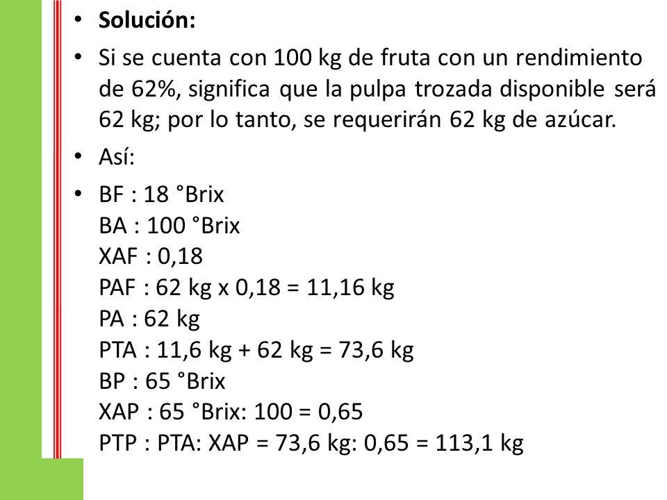 Solución: Si se cuenta con 100 kg de fruta con un rendimiento de 62%, significa que la pulpa trozada disponible será 62 kg; por lo tanto, se requerirá